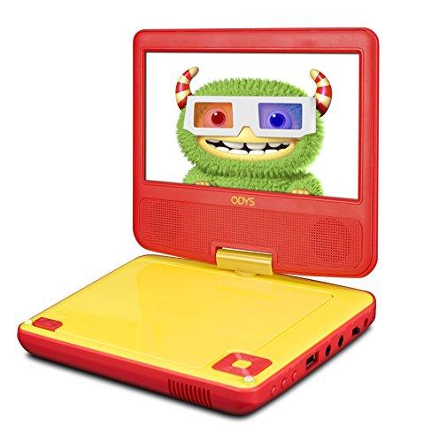 Odys Peer 7+ Tragbarer DVD-Player (17,8 cm (7 Zoll) drehbares Display, MPEG4, USB Eingang 2.0) rot/gelb