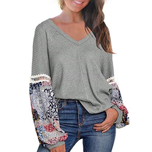MU2M Women Casual Long Sleeve V-Neck Print Patchwork Waffle Tops T-Shirt Blouse Grey...