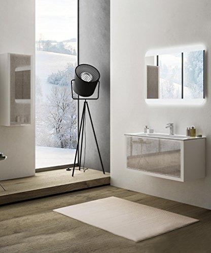 Modern badkamermeubel Roxanne wit grootte 75 cm met LED spiegel wastafel glas en glazen zuil
