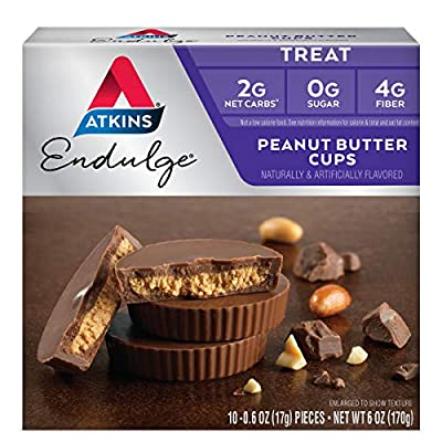 Atkins Endulge Peanut Butter Cups. Rich and Creamy Treats with Choco and Peanut Butter. 10 Cups per Pack (2 Pack)