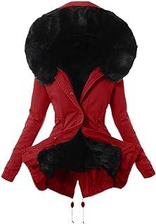 Mujer Invierno Abrigo Casual Sudadera con Capucha Algodón Chaqueta Larga Gruesa Cálida Rebajas Talla Grande Capa Jacket Pa...