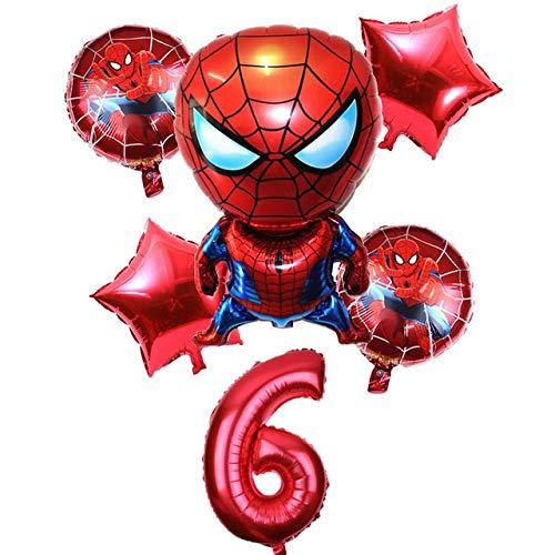 JSJJATQ Globos 1-9 años Spiderman Globo de Helio Hombre araña Super héroe de los Vengadores Fiesta de cumpleaños Globos Decoraciones (Color : 6)