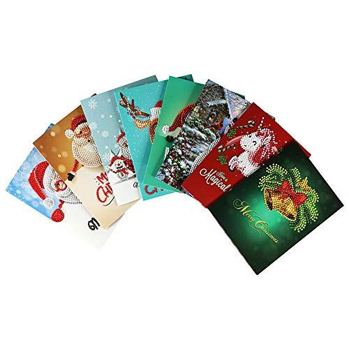 Lot de 8 cartes de Noël à faire soi-même avec peinture diamant - Père Noël