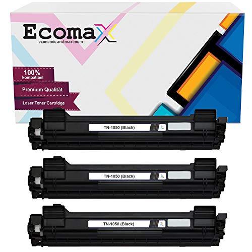 Ecomax 3 toner compatibel met Brother TN-1050 DCP-1510E 1512 1610W HL-1110R 1112 MFC-1810 1815 1910W - zwart 1.500 pagina-capaciteit