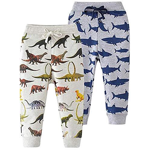 2PC Baby Unisex Pants and Leggings, Joggers,Cartoon Pattern Pants Drawstring Elastic Sweatpants Christmas Outfits