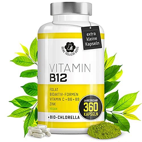 Vitamin B12 Komplex - Mit Power-Alge Bio Chlorella - 360 Vitamin B12 Tabletten hochdosiert gegen B12-Mangel - B12 vegan mit beiden Aktivformen, Depotform, MTHF-Folat, Vitamin C, B6 und B9