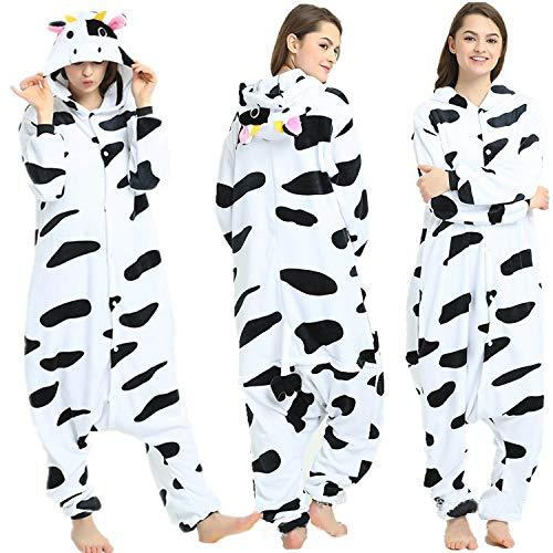 SSM Tier Pyjama Onesies Fasching Halloween Kostüm Schlafanzug Cosplay Pyjama Unisex Erwachsene Damen Karneval Einteiler Kuh XL