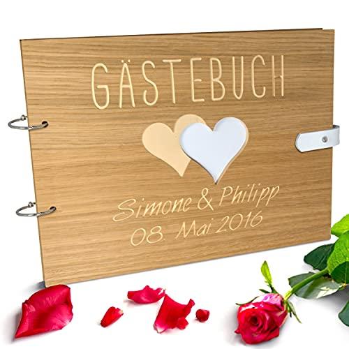 Handgearbeitetes Gästebuch zur Hochzeit aus Holz mit personalisierter Gravur & Lederverschluss | 140 Seiten / 70 Blatt DIN A4 Papier - 310 x 230 m
