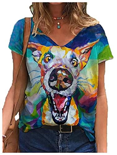 Wsgyj52hua 2021 Estilo Europeo Y Americano Cobertura con Cuello En V Estampado Animal Street Hipster Manga Corta Multicolor Suelta Camiseta De Mujer