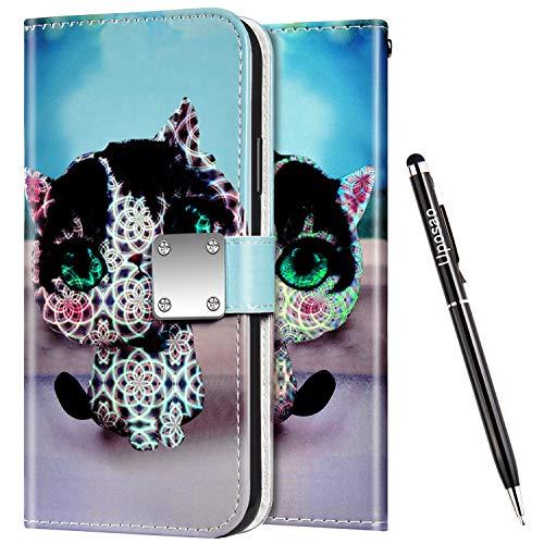 Uposao Kompatibel mit Samsung Galaxy S10 Hülle Leder Handyhülle Bunt Glänzend Bling Glitzer Klapphülle Flip Case Wallet Schutzhülle Brieftasche Klapphülle Tasche Kartenfächer,Cartoon Katze