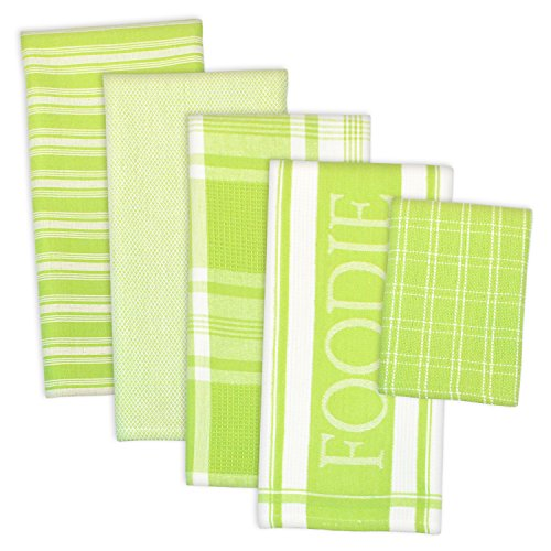 """DII Assorted Decorative Kitchen Dish Towels & Dish Cloth Foodie Set, Ultra Absorbent for Washing and Drying (Towels 18x28"""" & Cloths 13x13"""") Lime Green, Set of 5"""