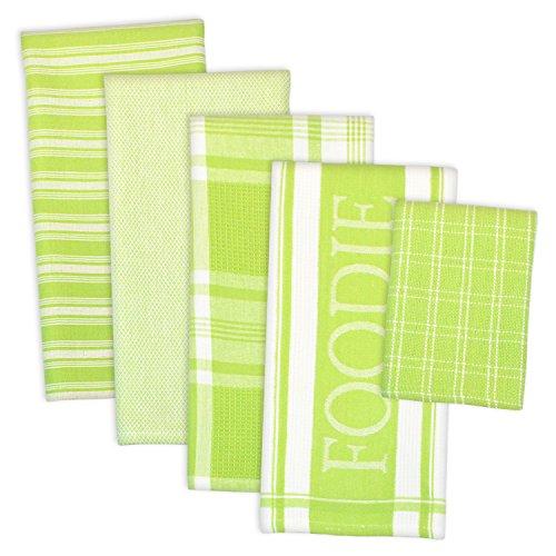 DII Dekoratives Küchentücher & Geschirrtuch Feinschmecker-Set, Ultra saugfähig zum Waschen und Trocknen (Handtücher 45,7 x 71,1 cm & Tücher 33 x 33 cm), Limettengrün, 5 Stück