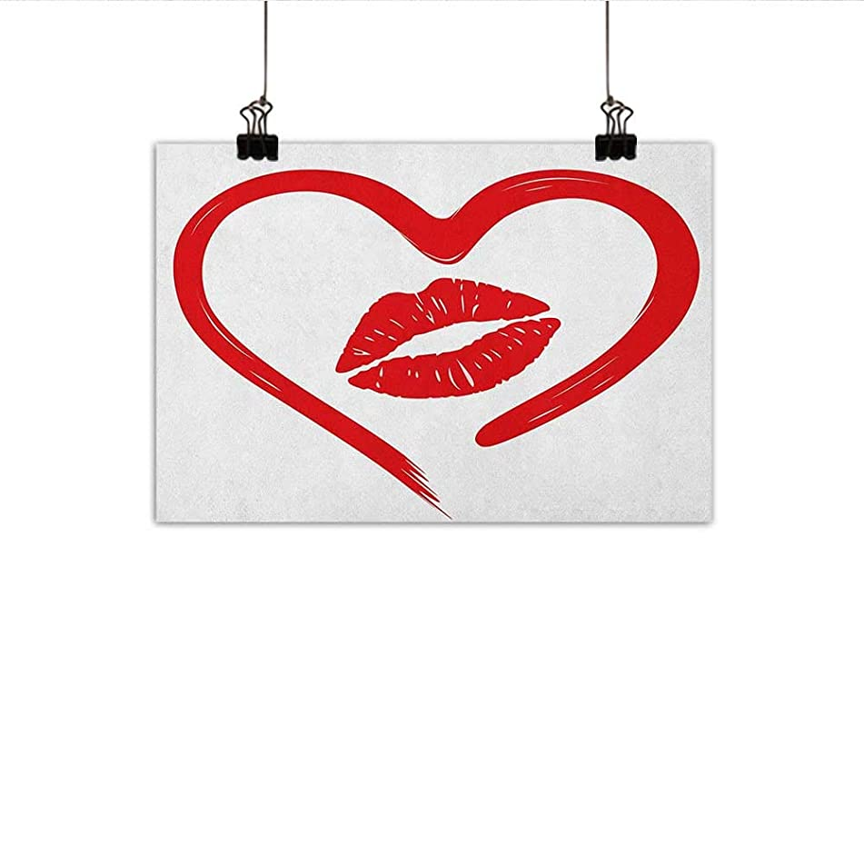 Kiss Art Oil Paintings Heart Drawn in Lipstick and Woman Lip Imprint Romance Passion and Tenderness Message Canvas Prints for Home Decorations 20