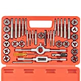 Orion Motor Tech 40-Piece Tap Die Set SAE - Home Improvement Tool Kit for Creating and Repairing Thread - Hand Tool Set for Mechanics and More with SAE Wrenches and Case