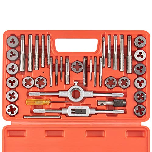 Orion Motor Tech 40-Piece Tap Die Set SAE - Home Improvement Tool Kit for Creating and Repairing Thread - Hand Tool Set for Mechanics and More