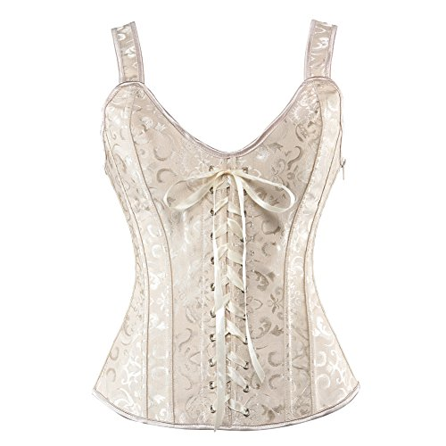 Women Sexy Boned Lace up Corsets and Strap Bustiers Top Overbust Shaper Medium Beige