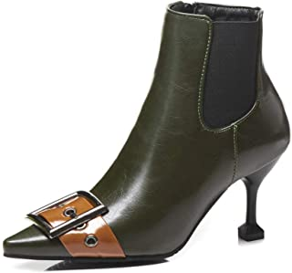 Leather Belt Buckle Ankle Boots Women Pointed Toe high Heel Martin Boot Autumn Winter Chelsea Boot