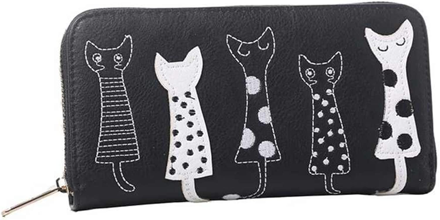 Valentoria Birthday Gifts for Women's Cartoon Cat Wallet Faux Leather Coin Purse Zippered Wallet Clutch (Black)