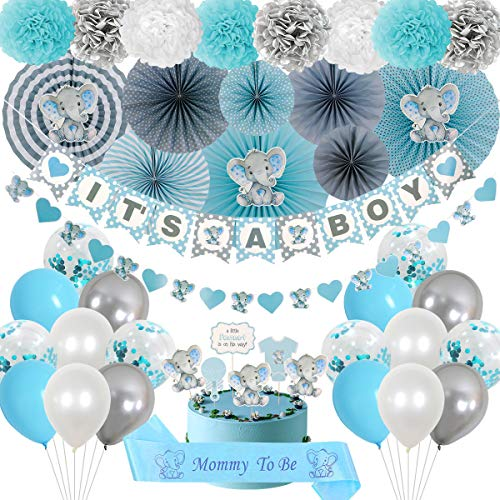 Elephant Baby Shower Decorations - It's a Boy Baby Shower in Blue and Gray Theme - Cute Elephant Party Kit - Virtual Baby Shower Decorations - Multipurpose Elephant Décor - Ready to Install