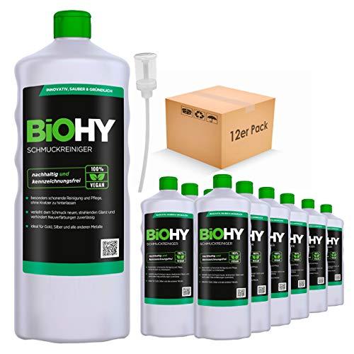 BiOHY Schmuckreiniger (12x1l Flasche) + Dosierer | AKTIVE GLANZFORMEL | Konzentrat für jedes Ultraschallgerät | Nachhaltige und schonende Reinigung für Uhren, Brillen, Schmuck und Edelmetalle