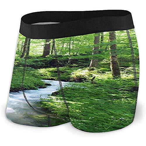 Deep Forest with River Boxer Slip Intimo Morbido Traspirante per Uomo, XL