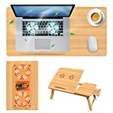 NUIMADL Bamboo Laptop Desk with USB Cooling Fan, Dedicated for College Students' Online Classes Tilting Bed Tray Breakfast Table with Drawers Height-Adjustable Lap Desk