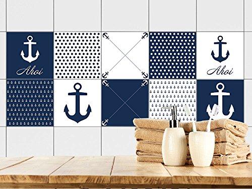 GRAZDesign Graz Design - Adhesivo decorativo para azulejos (15 x 15 cm, 10 unidades), diseño de ancla, color azul y blanco