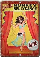 モンキーベリーダンスウォールメタルポスターレトロプラーク警告ブリキサインヴィンテージ鉄絵画装飾オフィスの寝室のリビングルームクラブのための面白いハンギングクラフト