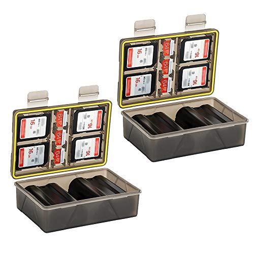 2 custodie impermeabili per fotocamera e scheda di memoria per Canon LP-E12 x4 / Fujifilm NP-W126 Sony NP-FW50 NP-FZ100 Nikon EN-EL15 x2 / Sony NP-F55