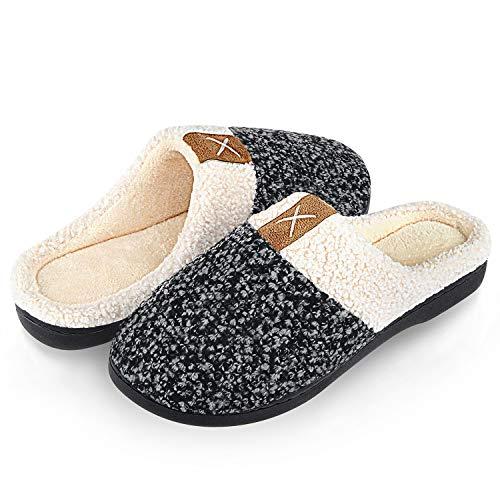 Winter Hausschuhe Damen Herren Wärme Plüsch Bequem Pantoffeln Memory Foam rutschfeste Home Leichte Slippers für Drinnen und Draußen(Grau.SZ,38/39 EU)