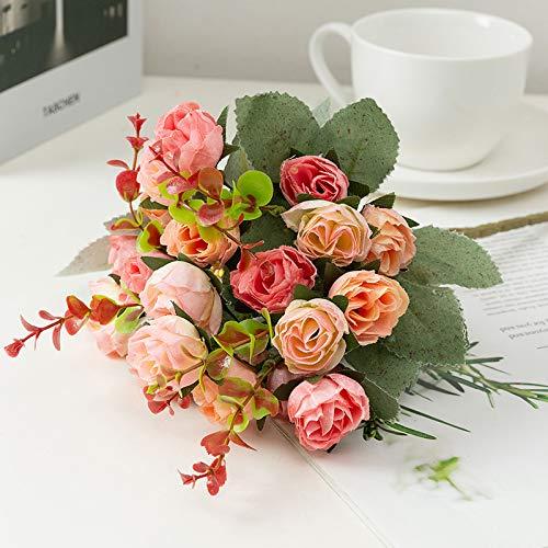 WSLDDD Simulation Knospe Herz Rose Kleiner Strauß 7 Gabel Rose Tee Knospe Hochzeit Road Guide Blume Nach Hause Wohnzimmer Dekoration Pink