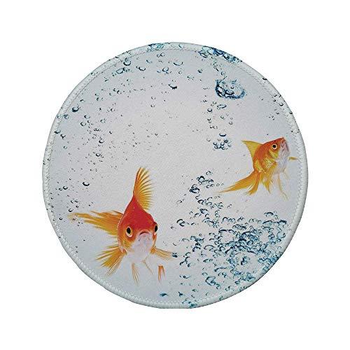 Rutschfreies Gummi-Rundmaus-Pad Aquarium unter dem Aquarium-Thema Niedliche schwimmende Goldfische mit lebendigen Blasen Bild Blau Orange Gelb 7.9