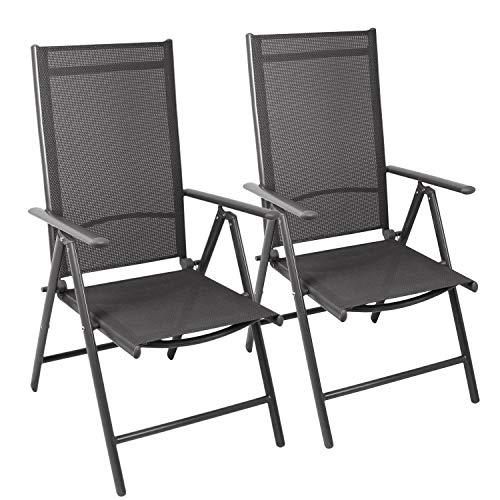 Wohaga 2er Set Aluminium Hochlehner \'Miami\' Textilenbespannung Grau, Lehne 7 Positionen verstellbar, klappbar