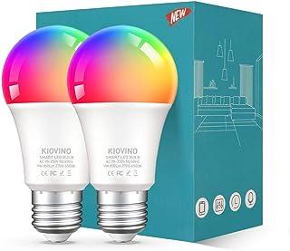 KIOVINO Bombilla Intelignete Foco WiFi RGB Compatible con Alexa, Echo e Google Home IFTTT, LED Inteligente 800lm 2700K a 6...