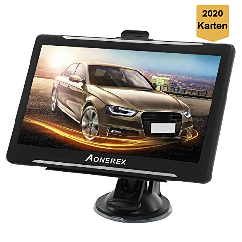 GPS Navi Aonerex Navigation 7 Zoll Touchscreen Navigationssystem Mehrsprachig Navigationsgerät für Auto LKW PKW KFZ 8GB/256MB Lebenslang Kostenloses Kartenupdate 52 Karten für Europa UK