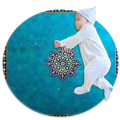 HOHOHAHA Iran-Malerei Baby kreisförmige Spielmatte Krabbelmatte Krabbelmatte Klimaanlage Teppich für Kinder Kleinkinder Schlafzimmer, 70 x 70 cm, mehrfarbig02, 80x80cm/31.5x31.5IN