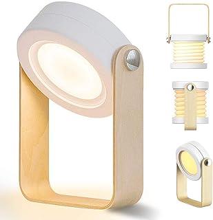 Lampe de chevet Touch LED à intensité variable Lampe de Bureau vintage avec poignée en bois 3 niveaux de luminosité lampe ...