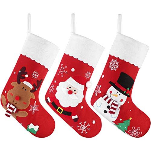 Cabilock Weihnachtsstrümpfe Groß 3 stück Hängende Strümpfe für Weihnachtsdeko Kinder Geschenk Kamin Nachttisch Tür Hängeornament 45.6 x29 x 23 cm