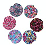 "Baxendale and Co Coasters for Car Cup Holders - Floral Pink Girly Cup Coasters For Car - 6 Pack - 2.65"" - Neoprene Absorbent Car Cup Holder Coasters - Car Coaster Pack Makes Great Gift for Women"