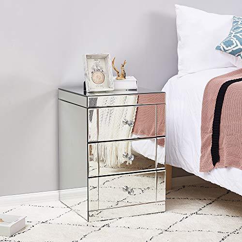 Dakea Nachttisch Spiegelglasschrank mit 3 Schubladen auf Wohnzimmer, Schlafzimmer, Büro, 40 x 40 x 60 cm