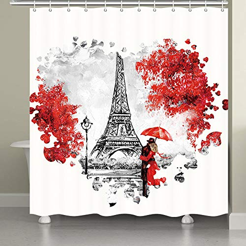 Oil Painting Paris Shower Curtain, France Eiffel Tower Romantic Couple Red Heart Print Polyester Bath Curtain Set with Hooks, Easy Care Fabric Bathroom Curtains (71 x 71 in, Red and Grey)