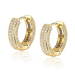 Gold Iced Out Cubic Cuff Hoop Earrings