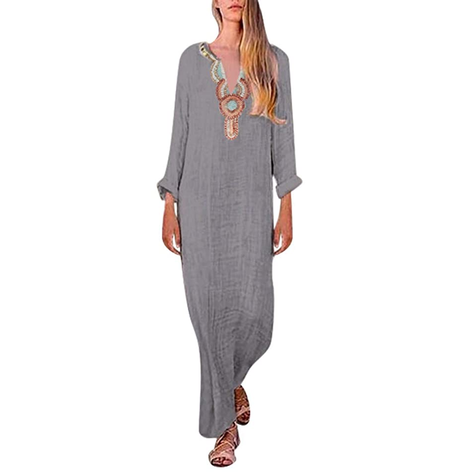 hositor Long Dresses for Women,Women's Printed Long Sleeve V-Neck Maxi Dress Split Hem Baggy Kaftan Long Dress