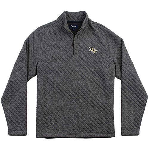 Oxford Men's Central Florida Golden Knights Linden Long Sleeve 1/4 Zip Pullover, Iron Gate, Large