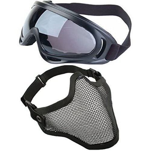 SODIAL(R) 2 in 1 Protection Steel Mesh Face Mask with X400 UV Safety Goggles Airsoft Paintball, Black