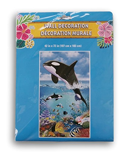 Greenbrier Changing Spaces Beach Themed Decorative Door or Wall Banner - 42x72 Inches (Orca Whales)