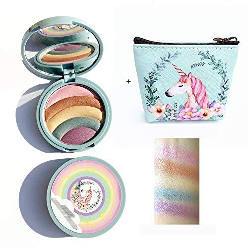 Arc-en-Strobe surligneur Unicorn fard à paupières surligneur Maquillage Fond de teint poudre cosmétique avec 1pc Portable Mini sac