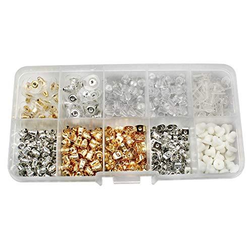 530 Piezas Juego de Topes para Pendientes de 10 Estilos Tapones de Pendiente de Goma Plástico Metal...