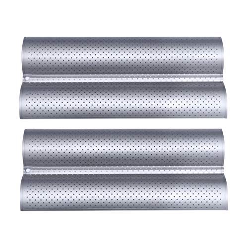 Hemoton 2pcs Baguette Pan Nonstick Perforated Baguette Bread Pans 2Loaf Waved Baking Tray Mold for Home Kitchen Small Silver