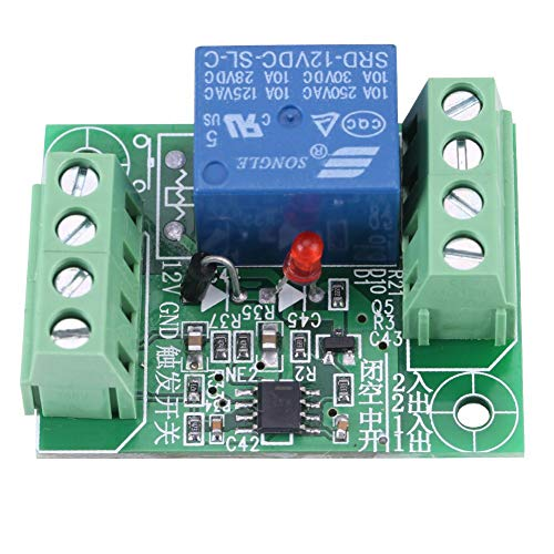 Akozon Módulo de control de relé interruptor biestable de circuito Relé biestable 12V biestable de un solo canal de CC de 12V